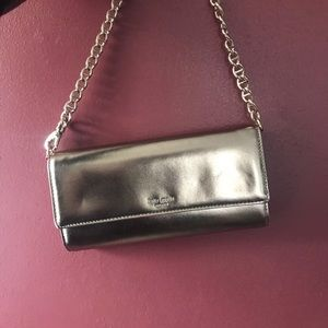 Kate Spade Metallic Wallet on Chain - NWOT